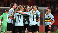 20170724 - TILBURG , NETHERLANDS : Belgian players celebrating their goal   pictured during the female soccer game between Belgium and The Netherlands  , the thirth game in group A at the Women's Euro 2017 , European Championship in The Netherlands 2017 , Monday 24 th June 2017 at Stadion Koning Willem II  in Tilburg , The Netherlands PHOTO SPORTPIX.BE | DIRK VUYLSTEKE