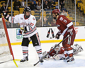 Alex Tuckerman (Northeastern - 27), Steve Michalek (Harvard - 34), Danny Biega (Harvard - 9) - The Harvard University Crimson defeated the Northeastern University Huskies 3-2 in the 2012 Beanpot consolation game on Monday, February 13, 2012, at TD Garden in Boston, Massachusetts.