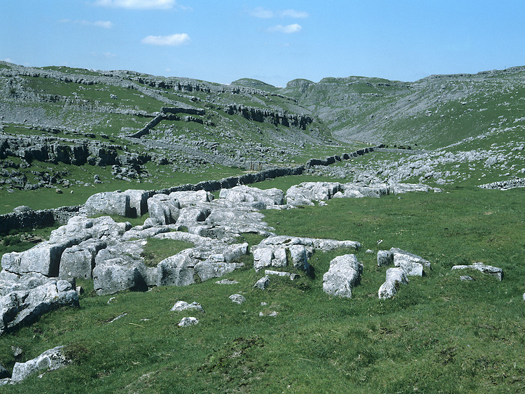 LIMESTONE PAVEMENT AND GRASSLAND<br /> MALHAM COVE, YORKSHIRE