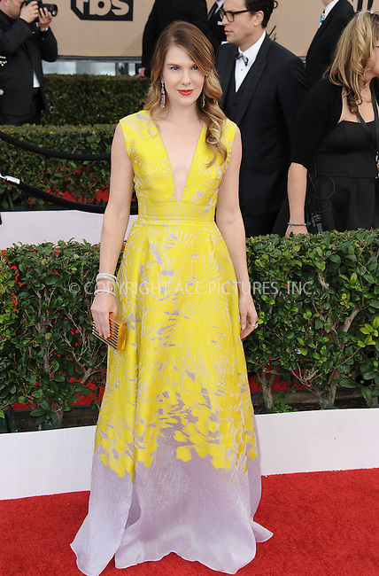 WWW.ACEPIXS.COM<br /> <br /> January 30 2016, LA<br /> <br /> Lily Rabe arriving at the 22nd Annual Screen Actors Guild Awards at the Shrine Auditorium on January 30, 2016 in Los Angeles, California<br /> <br /> By Line: Peter West/ACE Pictures<br /> <br /> <br /> ACE Pictures, Inc.<br /> tel: 646 769 0430<br /> Email: info@acepixs.com<br /> www.acepixs.com