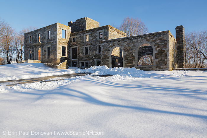 Remnants of the Goddard Mansion during the winter months. Located at Fort Williams Park in Cape Elizabeth, Maine. This mansion was built in 1858 for Col. John Goddard.