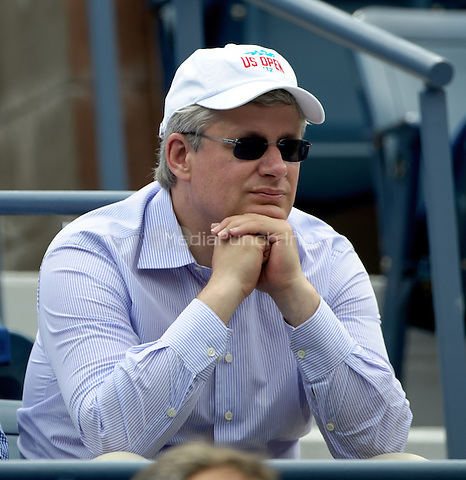 September 2, 2012: Canadian Prime Minister Stephen Harper attends Day 7 of the 2012 U.S. Open Tennis Championships at the USTA Billie Jean King National Tennis Center in Flushing, Queens, New York, USA. © mpi105/MediaPunch Inc.