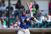 Andy Yerzy (38) of the Missoula Osprey at bat against the Billings Mustangs at Dehler Park on August 20, 2017 in Billings, Montana.  The Osprey defeated the Mustangs 6-4.  (Brian Westerholt/Four Seam Images)