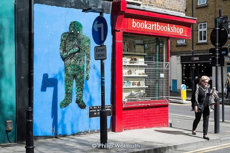Wall painting outside a bookshop in Shoreditch, London.