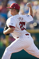 South Carolina starting pitcher Blake Cooper in Game 10 of the NCAA Division One Men's College World Series on June 24th, 2010 at Johnny Rosenblatt Stadium in Omaha, Nebraska.  (Photo by Andrew Woolley / Four Seam Images)