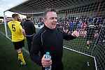 Visiting manager Gary Jardine celebrating promotion after East Stirlingshire hosted Edinburgh City in the second leg of the Scottish League pyramid play-off at Ochilview Park, Stenhousemuir. The play-offs were introduced in 2015 with the winners of the Highland and Lowland Leagues playing-off for the chance to play the club which finished bottom of Scottish League 2. Edinburgh City won the match 1-0 giving them a 2-1 aggregate victory making them the first club in Scottish League history to be promoted into the league.