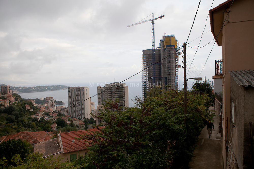 View of the Tour Odéon (centre-right) under construction, seen from the residential area above in Beausoleil, France, 18 October 2013.
