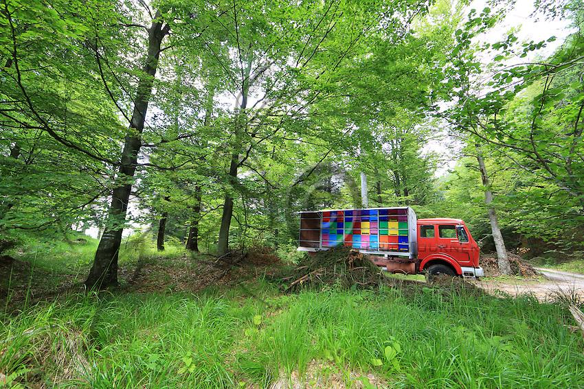 A professional beekeeper's mobile apiary in the mountains.///Un rucher itinérant d'un apiculteur professionnel en montagne.