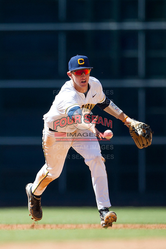 California Golden Bears shortstop Chris Paul #6 tosses the ball to second against the North Carolina Tar Heels in the NCAA baseball game on March 2nd, 2013 at Minute Maid Park in Houston, Texas. North Carolina defeated Cal 11-5. (Andrew Woolley/Four Seam Images).