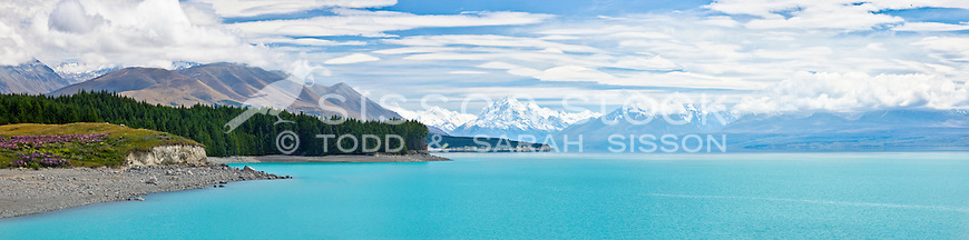 Mt Cook / Aoraki, Mt Tasman and Lake Pukaki viewed from State Highway 8, Summers Day, South Island, New Zealand<br /> <br /> High resolution panoramic image file