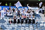 Stockholm 2014-05-04 Fotboll Superettan Hammarby IF - IFK V&auml;rnamo :  <br /> IFK V&auml;rnamo supportrar p&aring; l&auml;ktaren under matchen med tjejer som cheer leaders <br /> (Foto: Kenta J&ouml;nsson) Nyckelord:  Superettan Tele2 Arena Hammarby HIF Bajen V&auml;rnamo supporter fans publik supporters