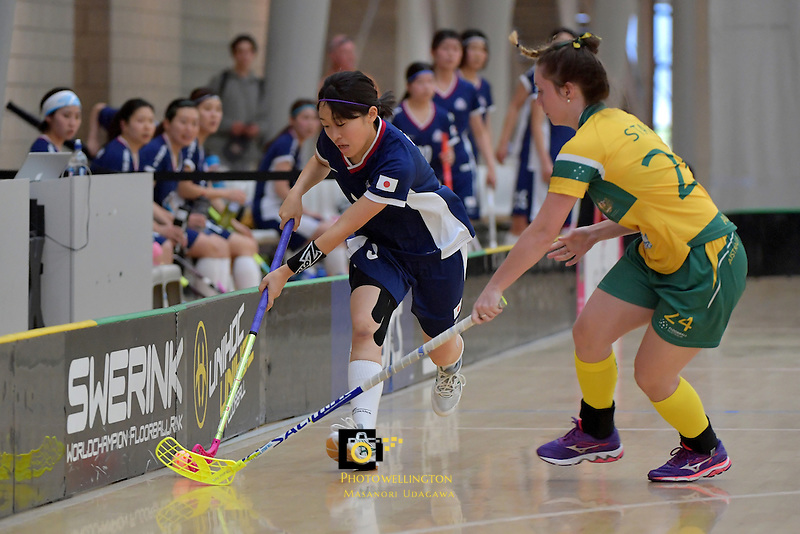 Japan's Eriko Chiba in action during the World Floorball Championships 2017 Qualification for Asia Oceania Region Final - Australia v Japan at ASB Sports Centre , Wellington, New Zealand on Sunday 5 February 2017.<br /> Photo by Masanori Udagawa<br /> www.photowellington.photoshelter.com.