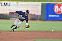 Mississippi Braves second baseman Ozzie Albies (20) fields the ball during a game against the Tennessee Smokies at Smokies Stadium on July 23, 2016 in Kodak, Tennessee. The Braves defeated the Smokies 3-0. (Tony Farlow/Four Seam Images)