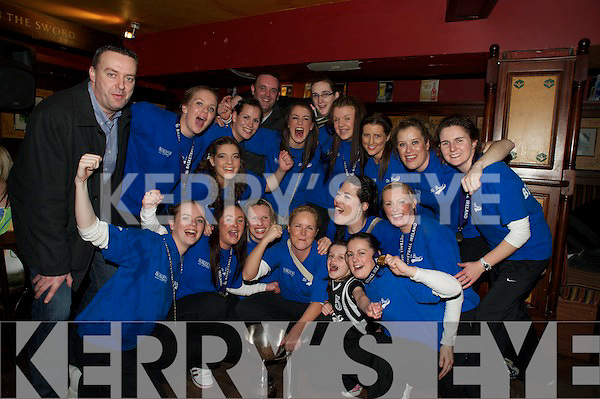 The Scruffys St Pauls team who won the National Cup in Tallagh on Saturday pictured as they celebrated their win in Scruffys Bar, Killarney on Saturday night. Pictured with captain Lynn Jones, centre, are Mags Cronin, Emer  Buckley, Emma Sherwood, Catriona O'Connell, Carolyn O'Mahony, Mairead Finnegan,Cassandra Buckley, Aisling O'Mahony, Maura Guiney, Rheanne O'Shea, Laura O'Mahony, Ashley Sheehy Campbell, Orla Kavanagh and Muirossa Galway, with Cormac, Timmy and Caoimhin O'Donoghue and mascot Mikaela Buckley.