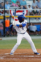 Burlington Royals outfielder Montae Bradshaw (6) at bat during a game against the Greeneville Reds at the Burlington Athletic Complex on July 7, 2018 in Burlington, North Carolina. Burlington defeated Greeneville 2-1. (Robert Gurganus/Four Seam Images)