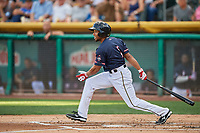 Ben Revere (1) of the Salt Lake Bees bats against the El Paso Chihuahuas at Smith's Ballpark on July 5, 2018 in Salt Lake City, Utah. El Paso defeated Salt Lake 3-2. (Stephen Smith/Four Seam Images)