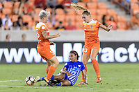 Houston, TX - Saturday July 22, 2017: Janine Van Wyk, Margaret Purce, and Cami Privett during a regular season National Women's Soccer League (NWSL) match between the Houston Dash and the Boston Breakers at BBVA Compass Stadium.