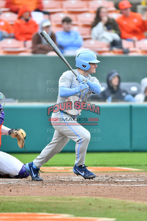 North Carolina Tar Heels center fielder Dylan Harris (3) swings at a pitch during a game against the Clemson Tigers at Doug Kingsmore Stadium on March 9, 2019 in Clemson, South Carolina. The Tigers defeated the Tar Heels 3-2 in game one of a double header. (Tony Farlow/Four Seam Images)