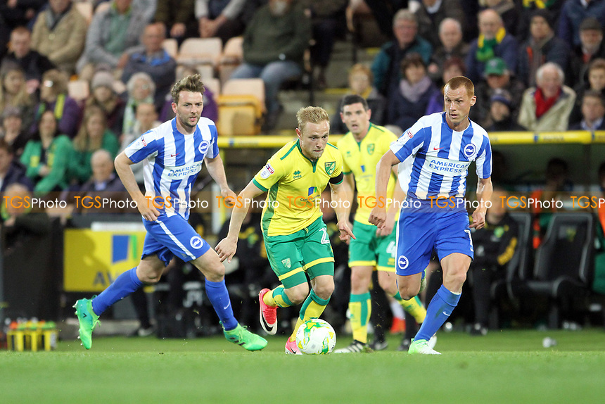 Alex Pritchard of Norwich City runs with the ball during Norwich City vs Brighton & Hove Albion, Sky Bet EFL Championship Football at Carrow Road on 21st April 2017