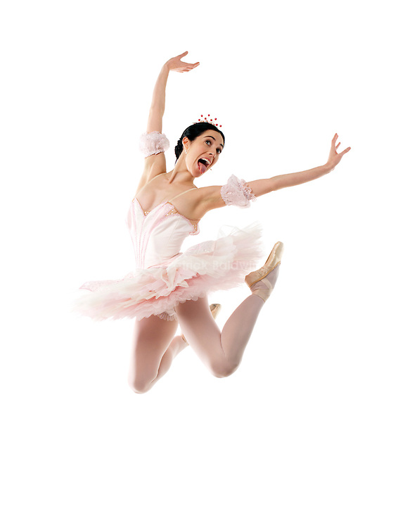 Ballet dancer Emma Lister jumping in the air.