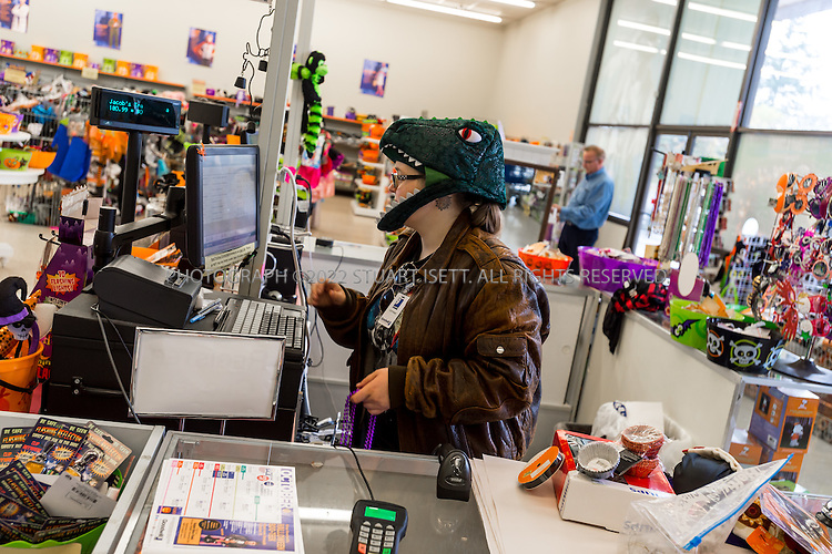 10/28/2015 &mdash; Tacoma, Washington, USA<br /> <br /> Stephanie Beausoleil, 26, an employee at Goodwill Halloween store in Tacoma, WASH., rings up customers purchases. <br /> <br /> CREDIT: Stuart Isett for The Wall Street Journal<br /> Slug: GOODWILL