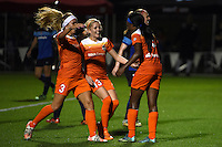 Kansas City, MO - Saturday May 07, 2016: Houston Dash forward Chioma Ubogagu (9) is congratulated after scoring against FC Kansas City during a regular season National Women's Soccer League (NWSL) match at Swope Soccer Village. Houston won 2-1.