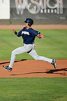 Angel Ortega (10) of the Helena Brewers hustles to second base against the Ogden Raptors at Lindquist Field in Ogden Utah on July 20, 2013.  (Stephen Smith/Four Seam Images)
