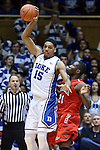 15 November 2014: Duke's Jahlil Okafor (15) and Fairfield's Amadou Sidibe (21). The Duke University Blue Devils hosted the Fairfield University Stags at Cameron Indoor Stadium in Durham, North Carolina in an NCAA Men's Basketball exhibition game. Duke won the game 109-59.