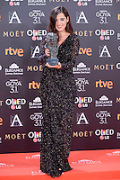 Silvia Perez Cruz pose to the media with the Goya award at Madrid Marriott Auditorium Hotel in Madrid, Spain. February 04, 2017. (ALTERPHOTOS/BorjaB.Hojas) /NORTEPHOTO.COM