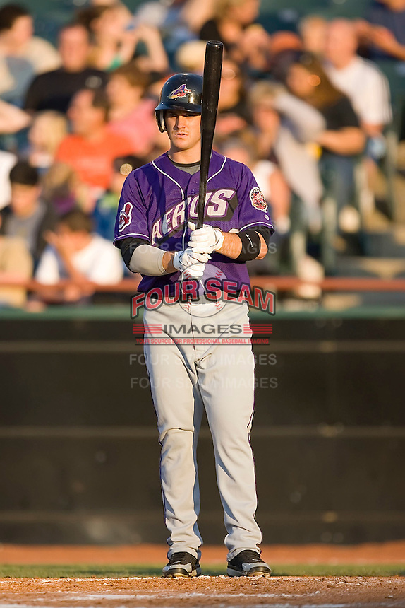 Left fielder Trevor Crowe (26) of the Akron Aeros checks the third base coach for a sign at Prince Georges Stadium in Bowie, MD, Tuesday June 17, 2008.