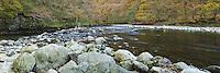 River Greta flowing through Brundholme Wood, Keswick, Lake District, Cumbria, Uk