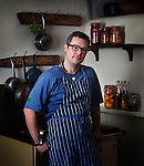 Hugh Fearnley-Whittingstall, celebrity chef, television personality, journalist, food writer and &quot;real food&quot; campaigner, in the kitchen at River Cottage.<br /> <br /> Commissioned by the GUARDIAN WEEKEND MAGAZINE.<br /> <br /> (See 'Tear sheets' gallery)