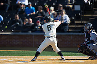 Joey Rodriguez (8) of the Wake Forest Demon Deacons at bat against the Richmond Spiders at David F. Couch Ballpark on March 6, 2016 in Winston-Salem, North Carolina.  The Demon Deacons defeated the Spiders 17-4.  (Brian Westerholt/Four Seam Images)