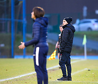 20191221 - WOLUWE: Woluwe trainer Audrey Demoustier (right) is looking at her counterpart Gent's trainer Ingrid De Rycke (left) during the Belgian Women's National Division 1 match between FC Femina WS Woluwe A and KAA Gent B on 21st December 2019 at State Fallon, Woluwe, Belgium. PHOTO: SPORTPIX.BE | SEVIL OKTEM
