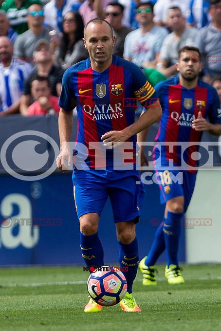 FC Barcelona's Andres Iniesta during the match of La Liga between Club Deportivo Leganes and Futbol Club Barcelona at Butarque Estadium in Leganes. September 17, 2016. (ALTERPHOTOS/Rodrigo Jimenez) /NORTEPHOTO