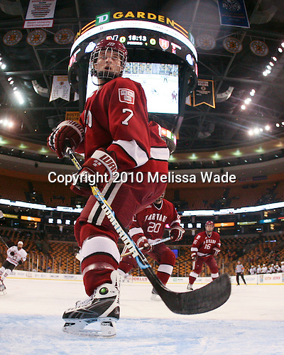 Chad Morin (Harvard - 7) - The Northeastern University Huskies defeated the Harvard University Crimson 4-1 (EN) on Monday, February 8, 2010, at the TD Garden in Boston, Massachusetts, in the 2010 Beanpot consolation game.