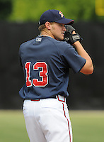 July 15, 2009: LHP Tyler Stovall (13) of the Danville Braves, rookie Appalachian League affiliate of the Atlanta Braves, before a game at Dan Daniel Memorial Park in Danville, Va. Photo by:  Tom Priddy/Four Seam Images
