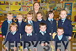 Moyvane National School: Junior infants on their first day at school in Moyvane national school. Front: Matthew Quinn, Jack Quinn, Kames Horgan- O'Brien & Cillian Hannon...Back : Cara Stack, Jacinta Roche, Mollie O'Riordan, Emma Monaghan, Aine Shine & Chloe Walsh.