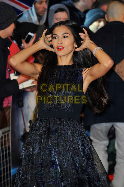 "Elodie Yung.The ""G.I. Joe 2: Retaliation"" UK film premiere, Empire cinema, Leicester Square, London, England..March 18th, 2013.half length dress sleeveless black hands arms armpits red lipstick mouth open.CAP/MAR.© Martin Harris/Capital Pictures."