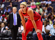 Washington, DC - June 15, 2018: Washington Mystics guard Elena Delle Donne (11) waits on the ball during game between the Washington Mystics and Los Angeles Sparks at the Capital One Arena in Washington, DC. (Photo by Phil Peters/Media Images International)