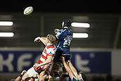 29th September 2017, AJ Bell Stadium, Salford, England; Aviva Premiership Rugby, Sale Sharks versus Gloucester; Sale Sharks' Josh Beaumont wins a line out