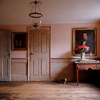 The coral pink walls of an upstairs parlour provide a tranquil backdrop for a collection of paintings