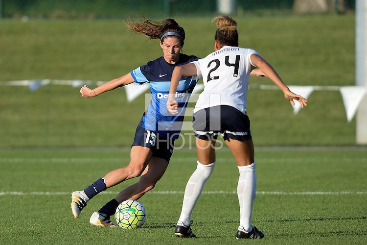 Kansas City, MO - Saturday July 16, 2016: Erika Tymrak, Estelle Johnson during a regular season National Women's Soccer League (NWSL) match between FC Kansas City and the Washington Spirit at Swope Soccer Village.