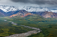 Summer landscape of fresh snow on mountains and colors of Polychrome Pass in Denali National Park, Alaska  Summer<br /> <br /> Photo by Jeff Schultz/SchultzPhoto.com  (C) 2018  ALL RIGHTS RESERVED<br /> <br /> Amazing Views-- Into the wild photo tour 2018