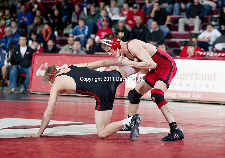 Wisconsin Badgers wrestling dual meet against the Nebraska Cornhuskers at the Field House on January 21, 2011 in Madison, Wisconsin. Wisconsin beat Nebraska 22-15. (Photo by David Stluka)