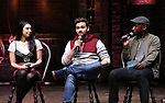 Lauren Boyd, Neil Haskell and Donald Webber during the eduHAM Q & A with the cast of Broadway's 'Hamilton' at The Richard Rodgers Theatre on April 25, 2018 in New York City.