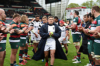 Callum Sheedy of Bristol Bears leads his team off the field. Gallagher Premiership match, between Leicester Tigers and Bristol Bears on April 27, 2019 at Welford Road in Leicester, England. Photo by: Patrick Khachfe / JMP