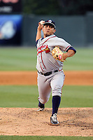 Pitcher Carlos Salazar (55) of the Rome Braves delivers a pitch in a game against the Greenville Drive on Monday, June 15, 2015, at Fluor Field at the West End in Greenville, South Carolina. Greenville won, 9-3. (Tom Priddy/Four Seam Images)
