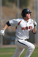 James Grandpre (23) of the Pepperdine Waves runs the bases during a game against the Oklahoma Sooners at Eddy D. Field Stadium on February 18, 2012 in Malibu,California. Pepperdine defeated Oklahoma 10-0.(Larry Goren/Four Seam Images)