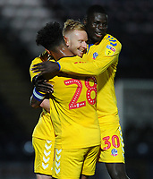 Bolton Wanderers' Ali Crawford celebrates scoring the opening goal with team-mates Liam Bridcutt and Yoan Zouma<br /> <br /> Photographer Kevin Barnes/CameraSport<br /> <br /> EFL Leasing.com Trophy - Northern Section - Group F - Rochdale v Bolton Wanderers - Tuesday 1st October 2019  - University of Bolton Stadium - Bolton<br />  <br /> World Copyright © 2018 CameraSport. All rights reserved. 43 Linden Ave. Countesthorpe. Leicester. England. LE8 5PG - Tel: +44 (0) 116 277 4147 - admin@camerasport.com - www.camerasport.com